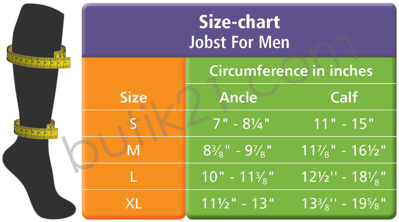Size chart Jobst for men