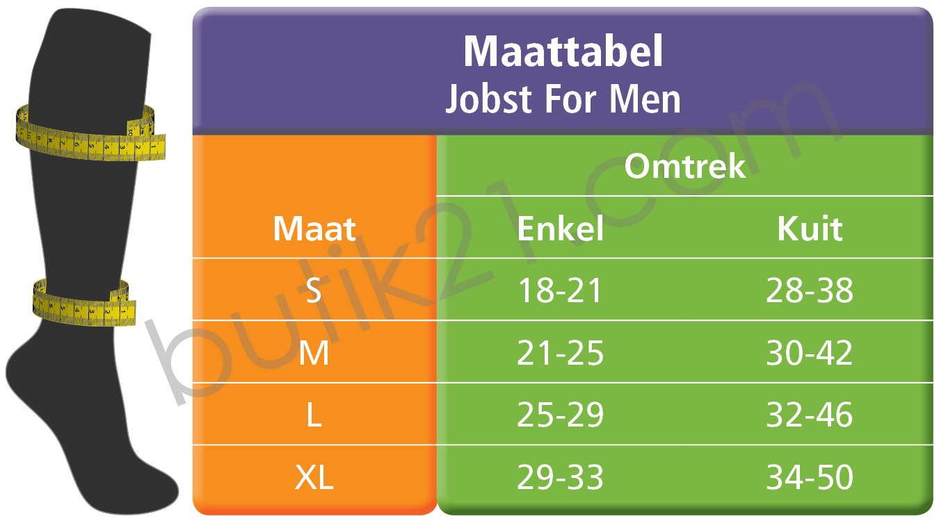 Maattabel Jobst for men