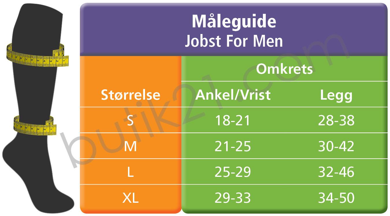 Størrelsestabellen for men