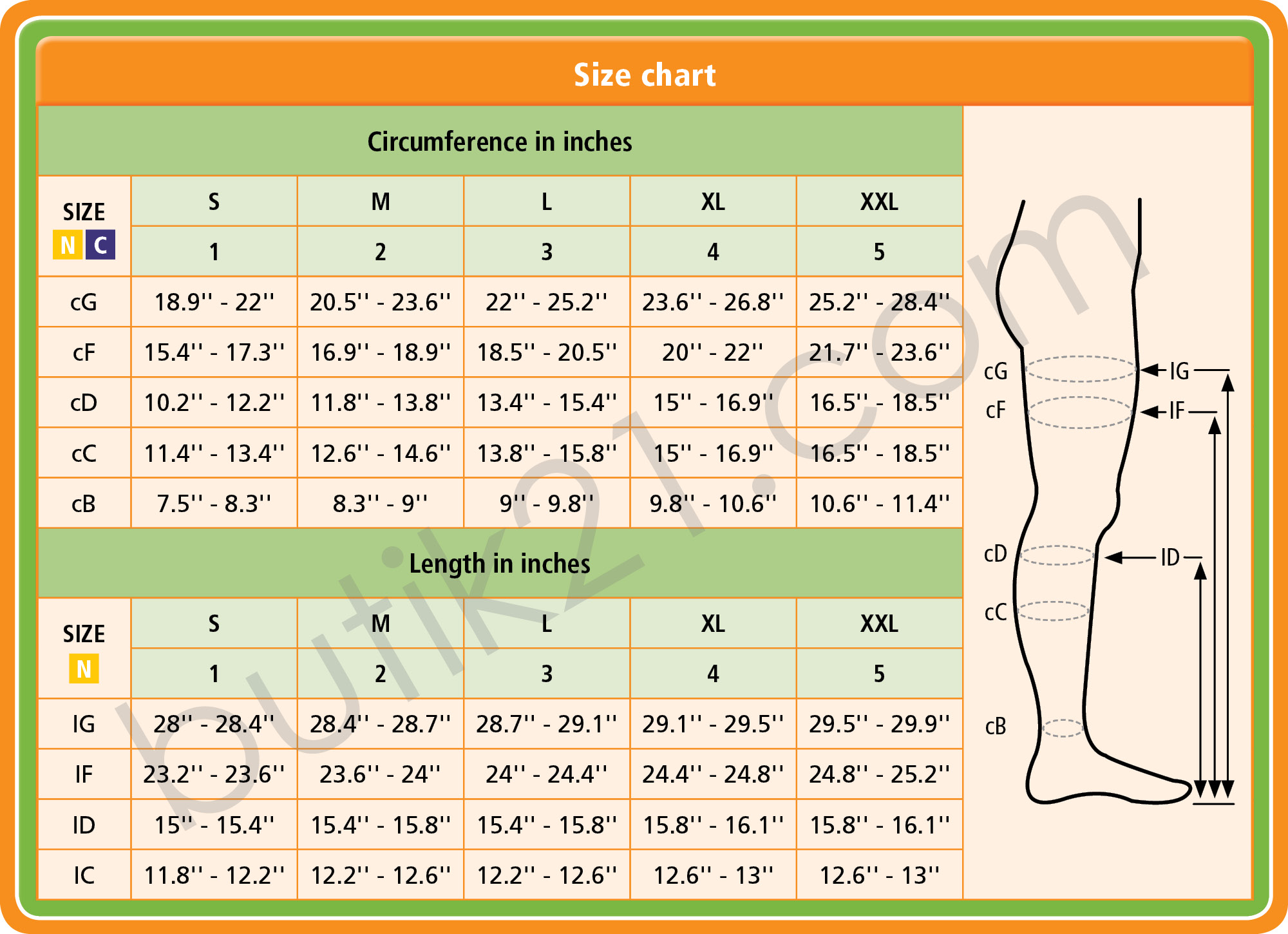 Size chart medical compression socks (tigh)