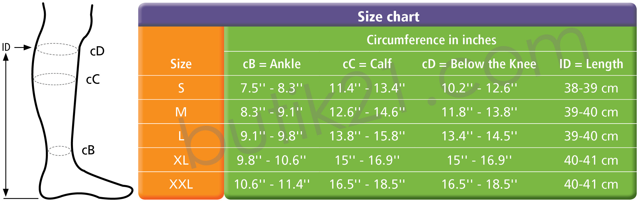 Size chart medical compression socks