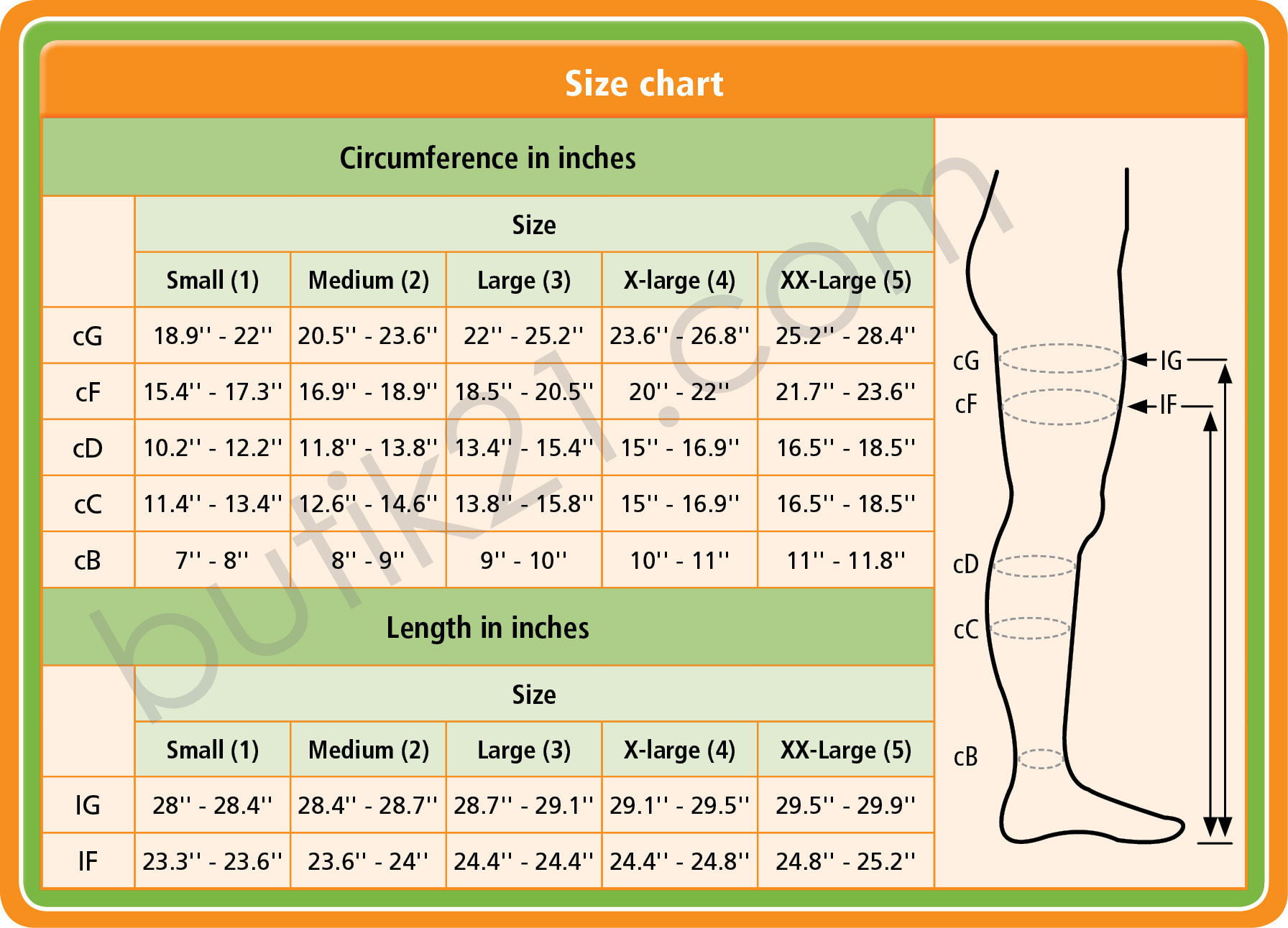 Size chart compression stockings