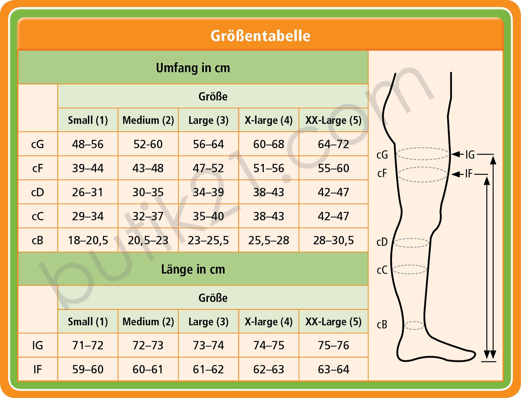 Größen Stützstrumpfhosen & Stay-ups