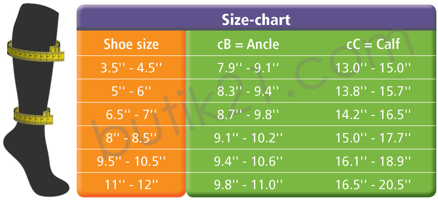 Size chart compression socks Swedish Supporters Travel + Sports