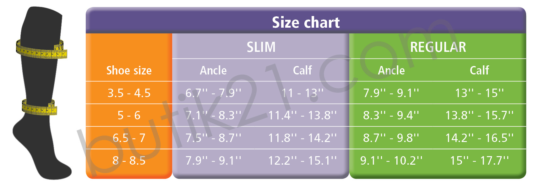 Size chart compression socks Everyday Women
