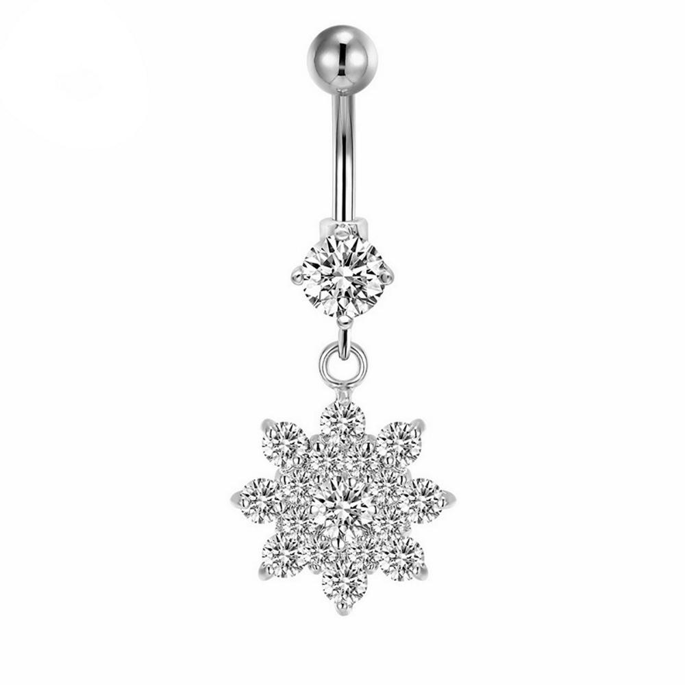 Bright Cz Diamond Flower Nipple Ring G23 Titanium Belly Button Rings