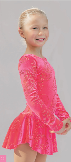 Rosaröd klänning med glittermönster