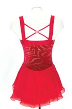 Ärmlös klänning i glittersammet i rött eller lila