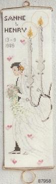 Bröllopsvepa i korsstygn