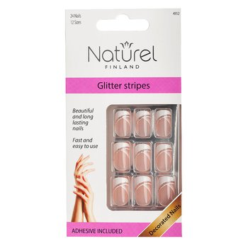 NATUREL Lösnaglar, Glitter Stripes