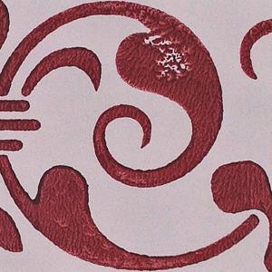 Blocktryckt duk avlångt mönster röd