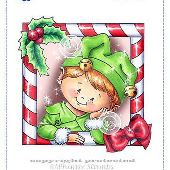 Elf Frame Rubber Cling Stamp