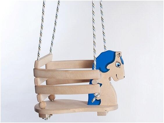 Berömda Lille Katt - Babygunga i trä 'blå' BU-38