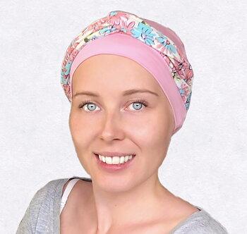 aBonnette rosa, blommigt pannband