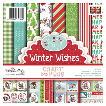 POLKADOODLES -Winnie Winter Wishes 6x6 Inch Paper Pack