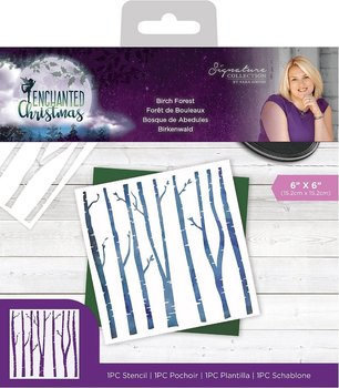 CRAFTERS COMPANION-Enchanted Christmas 6x6 Inch Stencil Birch Forest