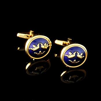 Manschettknappar Tre Kronor guld/mörkblå