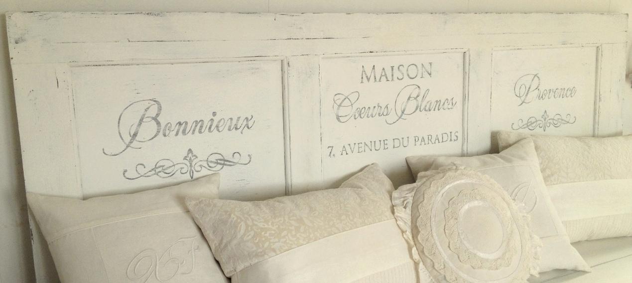 Himlarum Sänggavel med fransk text av gammal spegeldörr