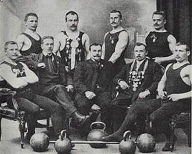 Group of old kettlebell lifters