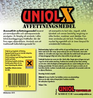 Uniol X Aromatfritt avfettningsmedel 1L