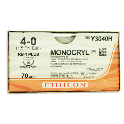 Monocryl Y3040H lila 4/0 rund nål RB-1 70 cm /36