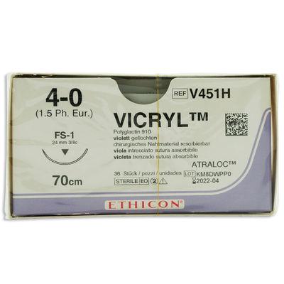 Vicryl V451H lila 4/0 omvänt skärande nål FS-1 70 cm /36