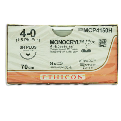 Monocryl Plus MCP4150H lila 4/0 omvänt skärande nål SH 70 cm /36