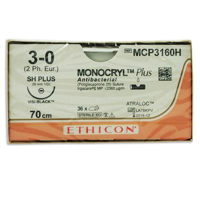 Monocryl Plus MCP3160H lila 3/0 rund nål JB 70 cm /36