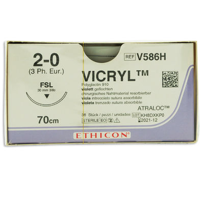 Vicryl V586H lila 2/0 omvänt skärande nål FSL 70 cm /36
