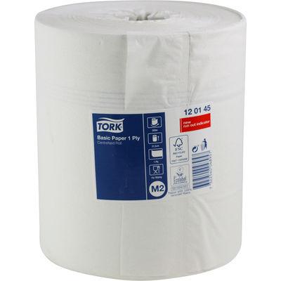 Avtorkningspapper stor rulle Tork Basic vit 1-lag längd 300 m /rulle