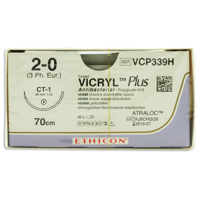 Vicryl Plus VCP339H lila 2/0 taperpoint nål CT-1 70 cm /36