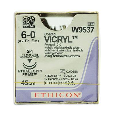 Vicryl W9537 lila 6/0 omvänt skärande nål 2xG-1 45 cm /12