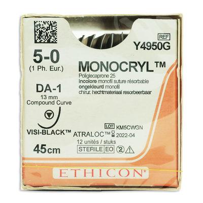 Monocryl Y4950G ofärgad 5/0 compund curve skärande nål DA-1 45 cm /12