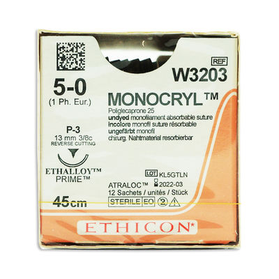 Monocryl W3203 ofärgad 5/0 omvänt skärande nål P-3 45 cm /12