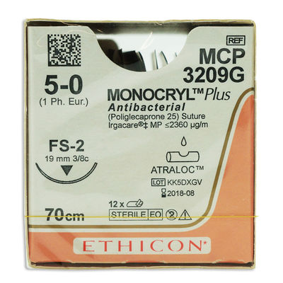 Monocryl Plus MCP3209G ofärgad 5/0 omvänt skärande nål FS-2 70 cm /12