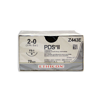 PDS II Z443E ofärgad 2/0 omvänt skärande nål FS-1 70 cm /24