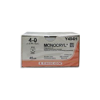 Monocryl Y494H ofärgad 4/0 omvänt skärande nål P-3 45 cm /36