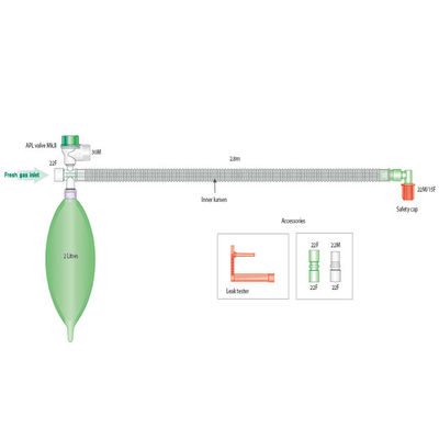 Coaxialslang Mapelson D deluxe Bain med 2 liters blåsa & APL-valv, 2,8 m /st