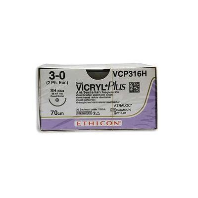 Vicryl Plus VCP316H lila 3/0 taperpoint nål SH 70 cm /36