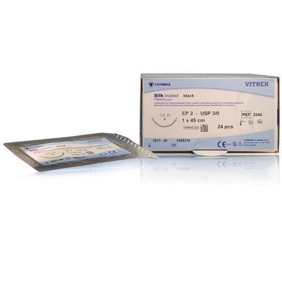 Silk Vitrex svart 3/0 multifil omvänt skärande nål DS-25 45 cm /24
