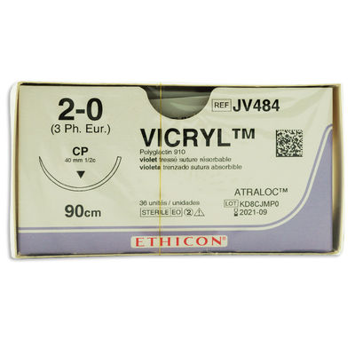 Vicryl   JV484 lila 2/0 omvänt skärande nål CP 90 cm /36