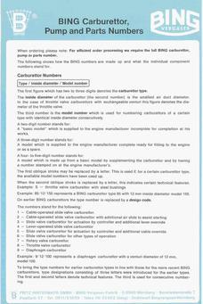 Bing Carburettor Part numbers