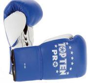 Topten Boxhandske PRO, blå/vit med snörning, 8-10 oz