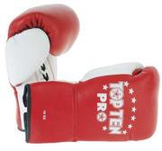 Topten Boxhandske PRO, röd/vit med snörning, 8-10 oz