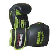 "Topten Sparring gloves  ""Elite Hi-Grade"", Black/Green 16-oz"