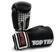 Topten Boxningshandske Fight,  Svart/Vit 10 oz