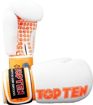 Topten Boxningshandske Fight, Vit/Orange 10 oz