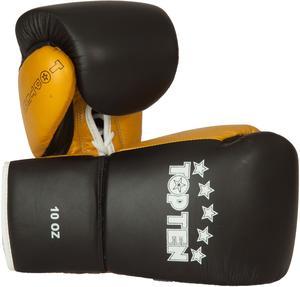 Topten Boxhandske PRO, med snörning, svart/guld 8-10 oz