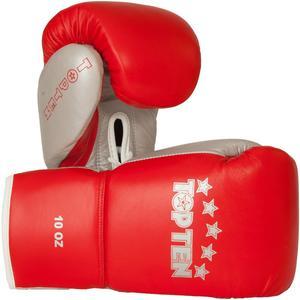 Topten Boxhandske PRO, med snörning, röd/silver 8-10 oz