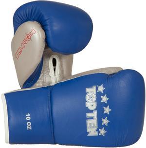 Topten Boxhandske PRO, med snörning, blå/silver 8-10 oz